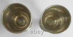 Two Antique Imperial Russian Sterling Silver 84 Etched Goblet Wine Cups Kiddush