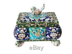 Unique Gorgeous Antique Imperial Russian 84 Silver Gilt & Cloisonné Enamel Bird