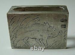Vesta Match Safe / Case Boar 84 Silver Imperial Russian S. Peterburg 1900
