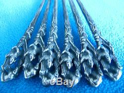 Vintage Imperial Russian Silver Set Of 6 Spoons Bears 1908