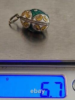 Vtg Russian Imperial 960 Sterling Silver Gilt Enamel Egg Charm Pendant Cross
