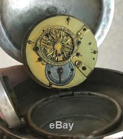 WOW! Antique Imperial Russian 84 silver&enamel Easter egg Verge Fusee desk clock